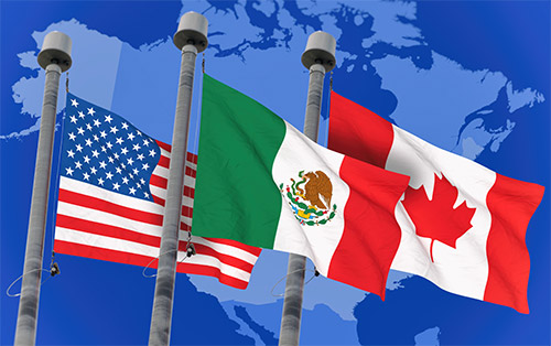 American, Mexican, and Canadian Flags